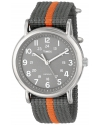 """Mens """"Weekender"""" Watch with Gray and Orange Nylon Strap"""