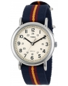 "Mens ""Weekender"" Watch with Blue and Maroon Striped Nylon Band"