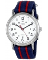 """Mens """"Weekender"""" Blue and Red Stripe Nylon Strap Watch"""