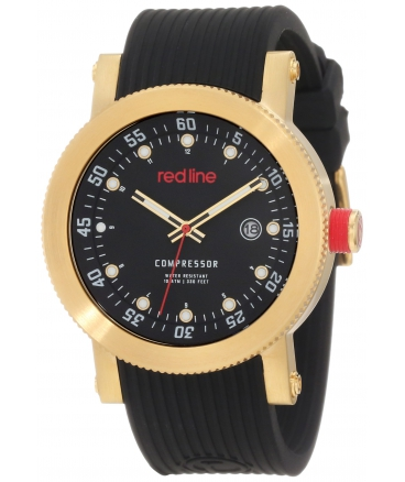 red line Men's RL-18000-YG-01 Compressor Black Dial Black Silicone Watch