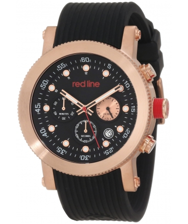 red line Men's RL-18101VD-RG-01 Compressor Chronograph Black Dial Black Silicone Watch