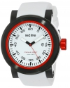 "Men's ""Torque"" Stainless Steel Watch with White Silicone Band"