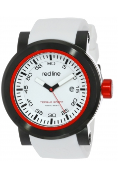 "red line Men's RL-50049-BB-02 ""Torque"" Stainless Steel Watch with White Silicone Band"