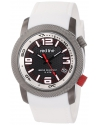 "Men's ""Octane"" Gunmetal Ion-Plated Stainless Steel and White Silicone Watch"