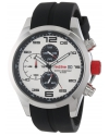 Men's Stealth Chronograph White Textured Dial Black Silicone Watch