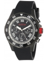 Men's Chronograph Black Dial Black Textured Silicone Watch