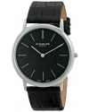 """Men's """"Ascot"""" Stainless Steel Watch with Black Alligator-Embossed Leather Band"""