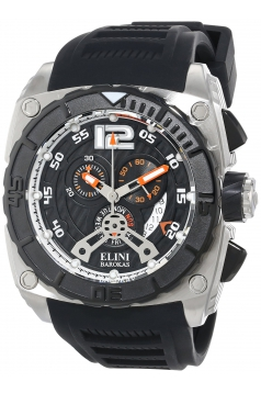 Elini Barokas Men's ELINI-17012-01-OA Commander Chronograph Black Textured Dial Black Silicone Band Watch