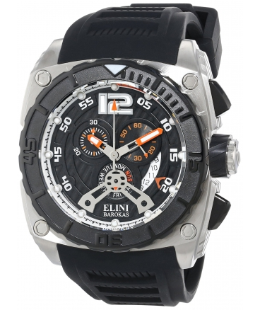 Elini Barokas Men's ELINI-17012-01-OA Commander Chronograph Black Textured Dial Black Silicone Band Watch