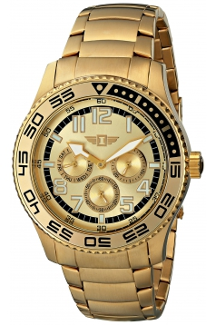 Men's Gold Dial 18k Gold-Plated Stainless Steel Watch