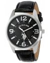 Classic Men's Analogue Black Dial Leather Strap Watch