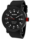 """Men's """"Compressor"""" Stainless Steel Watch With Black Silicone Band"""