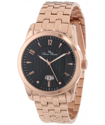 Lucien Piccard Men's LP-12355-RG-11 Diablons Black Dial Rose Gold Ion-Plated Stainless Steel Watch