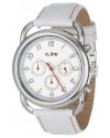 Women's Maya Chronograph Silver Dial White Leather Watch
