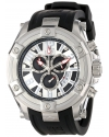 Elini Barokas Men's 10056-02S Gladiator Chronograph Black and Silver Dial Black Silicone Watch