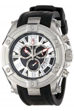 Elini Barokas Men's 10056-02S Gladiator Chronograph Black and Silver Dial Black Silicone Watch