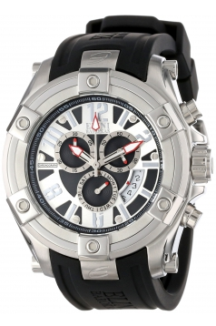 Men's Gladiator Chronograph Black and Silver Dial Black Silicone Watch