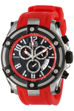 Elini Barokas Men's 10056-01-RDSA Gladiator Chronograph Black Dial Red Silicone Watch