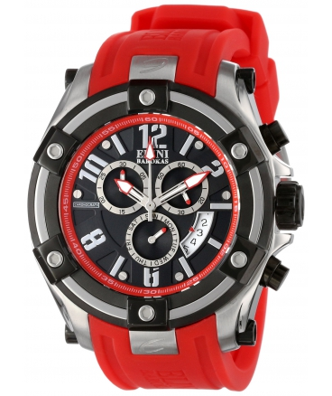 Men's Gladiator Chronograph Black Dial Red Silicone Watch