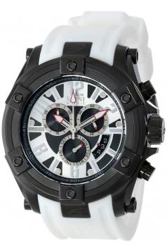 Elini Barokas Men's 10056-BB-02S-WHTS Gladiator Chronograph Black and Silver Dial White Silicone Watch