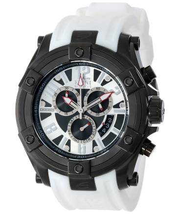 Elini Barokas Men's 10056-BB-02S-WHTS Gladiator Chronograph Black and Silver Dial White Silicone Watch