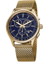 Men's Ultimate Swiss Chronograph Blue Dial Gold-tone Stainless Steel Mesh Bracelet Watch