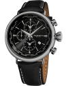 Men's Explorer World Time Alarm Stainless Steel Black Dial Black Leather Strap Watch