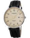 Men's Retro Swiss Quartz Cream Dial Stainless Steel Black Leather Strap Watch