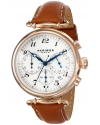 Women's Rose-Tone Stainless Steel and Brown Leather Strap Watch
