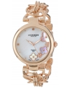 Women's Lady Diamond Swiss Quartz Diamond Mother-of-Pearl Flower Rose-tone Circle Link Bracelet Watch