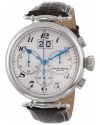Men's Retro Chronograph Stainless Steel White Dial Brown Leather Strap Watch
