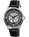 Men's 'Saturnos' Skeleton Automatic Leather Strap Watch