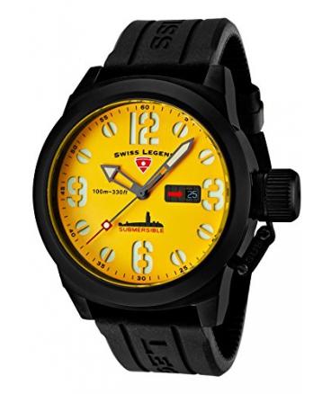 Swiss Legend Men's 10543-BB-07 Submersible Analog Display Swiss Quartz Black Watch