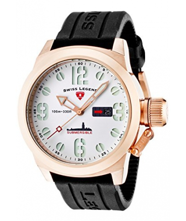 Swiss Legend Men's Submersible White Dial Rose Gold Tone Case Black Silicone