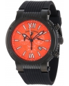Men's Legato Cirque Chronograph Orange Textured Dial Black Silicone Watch