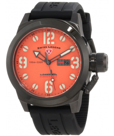 Swiss Legend Men's 10543-BB-06 Submersible Orange Dial Watch