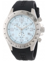 Men's Eograph Chronograph Light Blue Grid Dial Black Silicone Watch