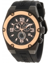 Men's Throttle Stainless Steel and Black Silicone Watch