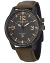 """Men's """"Aviator"""" Black Ion-Plated Stainless Steel Watch with Green Leather Band"""