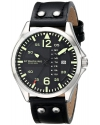"""Men's """"Aviator"""" Stainless Steel Watch with Black Leather Band"""