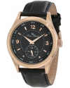 Lucien Piccard Men's 11606-RG-01 Grande Casse Black Dial Black Leather Watch