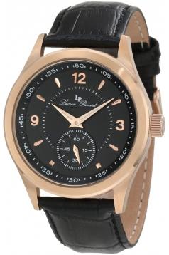 Lucien Piccard Men's 11606-RG-01 Grande Casse Black Dial Black Leather Watch
