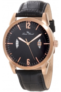 Lucien Piccard Men's LP-11561-RG-01 Watzmann Black/Black Textured Leather Watch