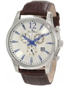 Men's Adamello Chronograph Silver Textured Dial Brown Leather Watch