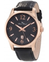 Lucien Piccard Men's 11566-RG-01 Adamello Black Textured Dial Black Leather Watch