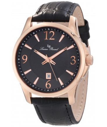 Lucien Piccard Men's 11566-RG-01 Adamello Black Textured Dial Black Leather Watch