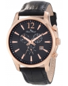 Men's Adamello Chronograph Black Textured Dial Black Leather Watch