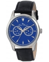 "Men's ""Stellar"" Stainless Steel Watch with Dark Blue Leather Strap"