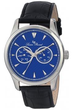"""Men's """"Stellar"""" Stainless Steel Watch with Dark Blue Leather Strap"""