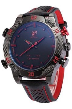 Men's LED Date Day Alarm Digital Analog Quartz Sport Black Leather Band Wrist Watch Red